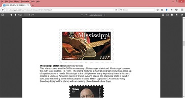 "1817-2017 Mississippi Statehood commemorative stamp featuring Jimmy ""Duck"" Holmes' hands and guitar in a photo by Lou Bopp."
